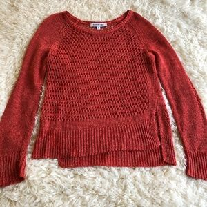 Elizabeth & James Red Perforated Pullover Sweater